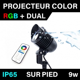 PROJECTEUR SUR PIED - COLOR - IP65 - RGB+DUAL - 9W