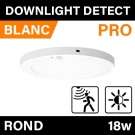 DOWNLIGHT DETECT - ROND - PRO - BLANC - 18W