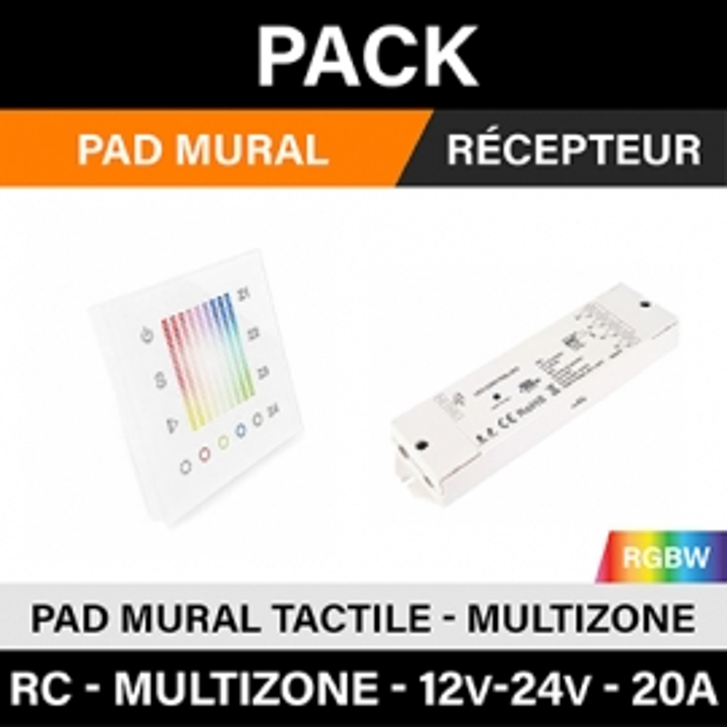 PACK - RGBW - PAD MULTIZONE + RC 12v-24v 20A