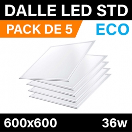 PACK DE 5 - DALLES LED ECO - 600x600 - 36W